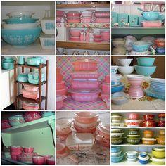 Confession: I collect teal & pink pyex! Vintage Kitchenware, Vintage Kitchen Decor, Vintage Dishes, Vintage Glassware, Vintage Decor, Vintage Pyrex, Pyrex Mixing Bowls, Pyrex Bowls, Vintage Love