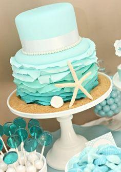 Tiffany blue beach inspired destination wedding cake