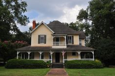 Plains GA Historic House Folk Victorian Architecture Yellow Clapboard Two-story Picture Image Photograph Copyright © Brian Brown Vanishing S...