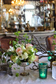 Vintage Silver - used in a table display - via Romancing the Home: Favorite Easter Decor Wedding Arrangements, Wedding Table Centerpieces, Floral Centerpieces, Floral Arrangements, Table Decorations, Romantic Room, Romantic Flowers, Fresh Flowers, Beautiful Flowers