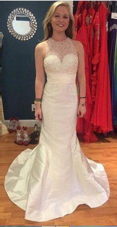 ba5f8bed0df White Mermaid Sleeveless Natural Zipper Satin Prom Dresses