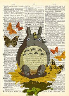 Totoro In The Garden Collage Studio Ghibli Print on by AvantPrint,