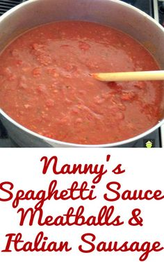 Nanny's Spaghetti Sauce and Meatballs (with Italian Sausage too!) is a popular recipe with her family. the grand kids absolutely love it! Easy to make, freezer friendly and always a hit! Spagetti And Meatball Recipe, Spaghetti Sauce Easy, Spagetti Sauce, Meatball Sauce, Spaghetti And Meatballs, Spaghetti Recipes, Sausage Sauce, Sausage Crockpot, Sausage Meatballs