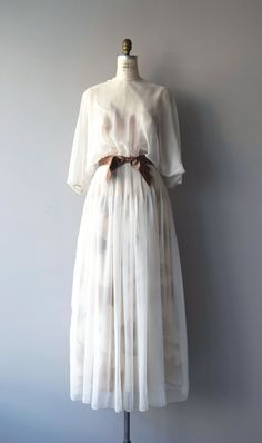 Vintage 1970s ivory chiffon maxi dress with spaghetti strap fitted neutral…