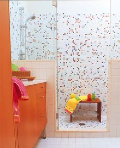 Cool Colorful Bathroom Decor Ideas And Remodel for Summer Project – Home Design Orange Bathrooms, Bathroom Colors, Bathroom Interior, Bathrooms Remodel, Bathroom Decor Colors, Beautiful Bathrooms, Bathroom Kids, Bathtub Tile, Bathroom Design