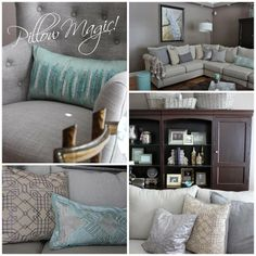 Designer tip: Pillows are the easiest way to change the look in a room. Its magic!