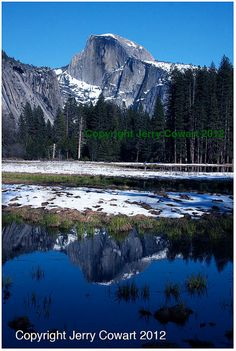 Half Dome Mountain Reflection in The Winter by PhotosbyJerryCowart https://www.etsy.com/listing/160118232/half-dome-mountain-reflection-in-the