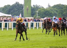 Lady Aurelia and Frankie Dettori pull away from the field to win the G2 Queen Mary Stakes by seven lengths