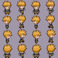 Gary HGSS in Black and White by OceansLugiaSpirit on DeviantArt Piskel Art, Pix Art, Sprites, Character Design Teen, Arte 8 Bits, Heavy Metal Art, 2d Game Art, Pixel Animation, Anime Pixel Art