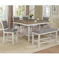 Claremont Fulton Counter Height Table in Antique White and Natural - Table Only | Nebraska Furniture Mart Dining Furniture Sets, Dining Room Sets, Dining Room Table, Patio Dining, Dining Bench, Dining Chairs, Counter Height Dining Table, Wood Counter, Extension Dining Table