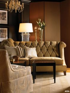 Mocha, caramel, honey, dark chocolate brown, taupe, ivory - only needs a bit of cinnamon or umber or persimmon and then a dash or two of turquoise! (sofa by Candice Olson)