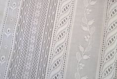 Close up of Swiss laces sewn together to form fabric