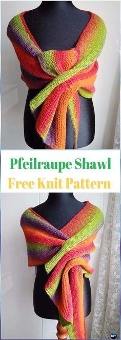 KnitPfeilraupe Shawl Free Pattern - Knit Scarf & Wrap Shawl Patterns