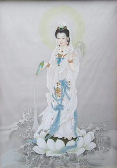 World Mythology, Chinese Buddhism, Religious Images, Buddha Art, Guanyin, Divine Feminine, Gods And Goddesses, Glass Art, Artsy