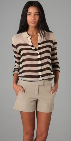 Striped Sophie Blouse / Equipmento equip, short, blouses, fashion styles, peter pan collars, work outfits, stripe blous, black, shirt