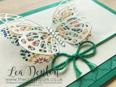 Moroccan Emerald Envy Butterfly Card - Part of the In Color Club 2016-2018 Design Series | any occasion butterflies thinlits emerald envy in color club moroccan stampin up |