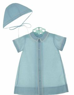 NEW Hand Embroidered Blue Checked Daygown with Matching Hat $50.00