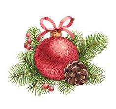 Christmas Stretched Canvas 10547 by Wall Art Prints - Christmas Illustration - Painted Christmas Cards, Watercolor Christmas Cards, Christmas Drawing, Christmas Paintings, Christmas Art, Vintage Christmas, Christmas Bulbs, Christmas Decorations, Illustration Noel