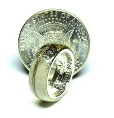 Responsibly sourced Irish deer antler silver half dollar coin ring Stag Deer, Deer Antlers, Coin Ring, Dollar Coin, Half Dollar, Unique Colors, Horns, Class Ring, Irish