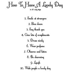 How to have a lovely Day in 10 easy Steps!