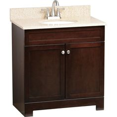 Style Selections Longshire 31-in x 19-in Espresso Undermount Single Sink Bathroom Vanity with Granite Top - upstairs bathroom