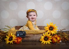 Amy Ross Studio Photography | Plymouth Michigan Baby Photographer | Canton Michigan Baby Photographer | Sunflowers | Fall Portraits | Six Month Portraits Little Girl Photos, Baby Girl Pictures, Baby Photos, 1st Birthday Photos, Baby First Birthday, Canton Michigan, 11 Month Old Baby, Plymouth Michigan, 6 Month Baby Picture Ideas