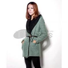 Wool Coats-Women wool long-sleeved coat