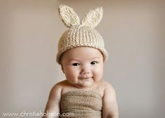 Knit Baby / 612 Month Bunny Rabbit Hat Knitted por LittleBirdLucy