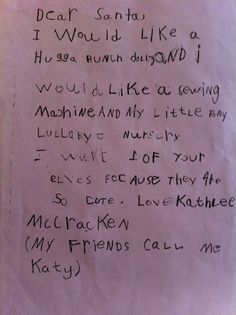my letter to santa from the mid-80's.