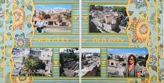 Travel scrapbook 2 page layout showing the new city of Naples over the old city of Herculaneum - from Travel Album 11 - Herculaneum, Italy