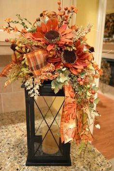 Love this, but with pumpkins instead of the large flowers 20 Fall Decorating  Ideas, Expert Tips for Making Halloween Decorations and Thanksgiving ...
