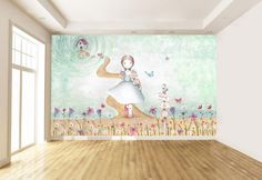 Mural infantil personalizado, efecto pintado a mano, a medida. DORY