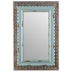 Let your home décor reflect your own unique style! This large Distressed Blue Wood & Metal Mirror features a simple rectangular shape, a distressed light pale blue finish, and rusty silver metal accen