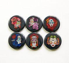 Skull Magnets, Dia de los Muertos, Sugar skulls, Day of the dead, Button magnets, Woman Sugar Skull, skull, stocking stuffer (5005)