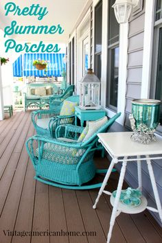Turquoise accents go great with warm brown shades for floors. Try Anvil's Deck-A-New in Walnut or Cedar to create this summery style