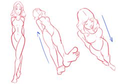 The angle of a photo or body drawing changes perception of size, emphasizes different features with the aspect. POINT:  Photos taken from ABOVE tends to minimize size of lower torso and to enlarge upper torso and facial features; photos taken from BELOW emphasizes the lower torso, while shrinking the upper torso and face.