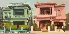 Villas jumelles à La Havane - Tableau de Michelle Auboiron