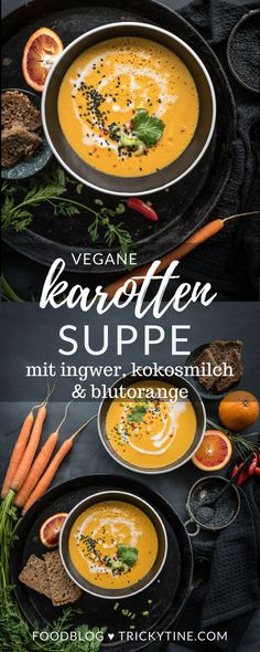 vegan carrot soup with ginger, coconut milk and blood orange - Food and Drinks Ideas Vegan Carrot Soup, Vegan Vegetable Soup, Vegan Tomato Soup, Vegan Soup, Pea Recipes, Healthy Soup Recipes, Cooking Recipes, Yummy Recipes, Orange Sanguine