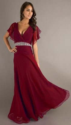 0bbd2d8ebe0 Modest Long Burgundy Formal Gown V Neckline Short Sleeve Chiffon Modest  Bridesmaid Dresses