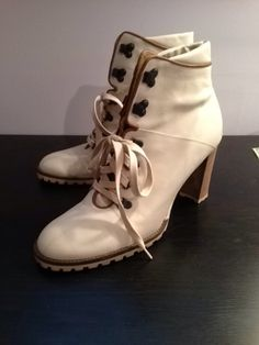 Vintage Coach Lace-Up White Booties - $115.00