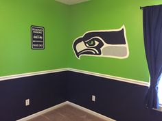 Seahawks bedroom paint scheme
