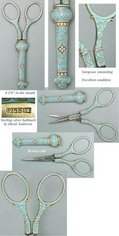 Enamel Sterling Silver Embroidery Scissors with matching Sheath