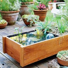 DIY Pond Box Lack room for a spacious in-ground water feature? You can craft this nifty pond in a box that fits on a small balcony, deck, or patio.