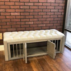 Ottoman Dog Crate – small dog kennel / Soft Cushion Top / Fully Custom / Dog House / Credenza / r Metal Dog Kennel, Dog Kennel Cover, Diy Dog Kennel, Diy Dog Bed, Puppy Kennel, Kennel Ideas, Crate Ottoman, Crate Bench, Diy Ottoman