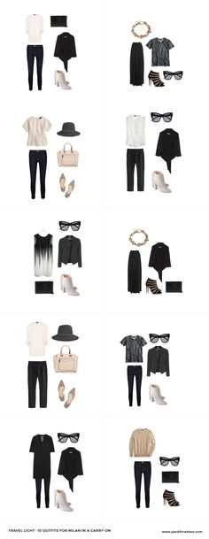 What to wear in Milan, easily shoppable packing list includes 20 items, 10+ outfits, in 1 carryon.