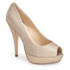 "Menbur 'Sotogordo' Glitter Peep Toe Platform Pump, 4 1/2"" heel (5,200 DOP) ❤ liked on Polyvore featuring shoes, pumps, sapato, sand, peeptoe pumps, peep toe platform pumps, menbur shoes, peep-toe pumps and glitter shoes #platformpumpsglitter"