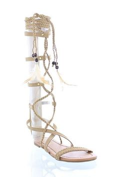 These are super cute gladiator flat knee high sandals with braided lace up ties and feather and bead accents, beige in color to go with most outfits this spring and summer into the fall. Cute Summer Dresses, Beach Dresses, Nice Dresses, Lace Up Sandals, High Sandals, Gladiator Flats, Sandals For Sale, Summer Trends, Feather