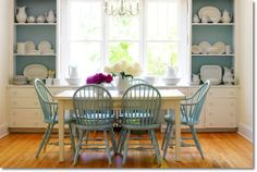 Classic blue and white dining room