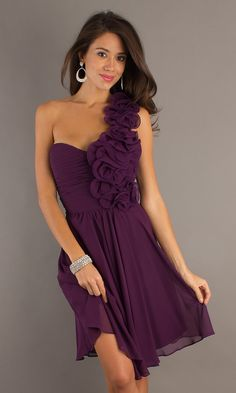 Short One Shoulder Purple Party Dress BD-DY067062
