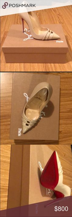 c32db9574fb Christian Louboutin front double pumps Nude heels size Worn once for 2  hours Original box